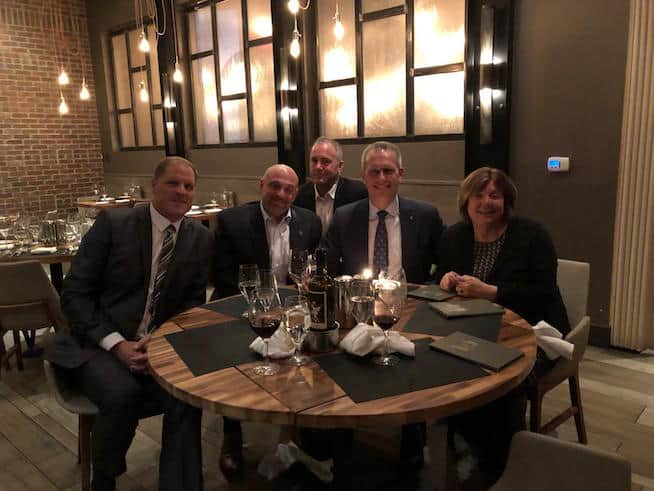 Zultys Dinner, Kevin Grace, Len Bachmann, John, C.G. Frink, and Deb Orminski